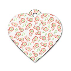 Flower Rose Red Green Sunflower Star Dog Tag Heart (one Side) by Mariart