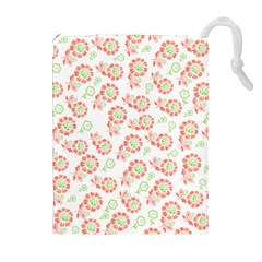 Flower Rose Red Green Sunflower Star Drawstring Pouches (extra Large) by Mariart