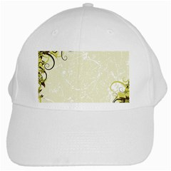 Flower Star Floral Green Camuflage Leaf Frame White Cap by Mariart