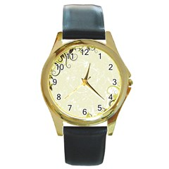 Flower Star Floral Green Camuflage Leaf Frame Round Gold Metal Watch by Mariart