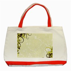 Flower Star Floral Green Camuflage Leaf Frame Classic Tote Bag (red) by Mariart