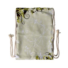 Flower Star Floral Green Camuflage Leaf Frame Drawstring Bag (small) by Mariart