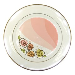 Flower Sunflower Wave Waves Pink Porcelain Plates by Mariart