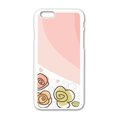 Flower Sunflower Wave Waves Pink Apple Iphone 6/6s White Enamel Case by Mariart