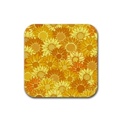 Flower Sunflower Floral Beauty Sexy Rubber Square Coaster (4 Pack)  by Mariart