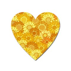 Flower Sunflower Floral Beauty Sexy Heart Magnet by Mariart