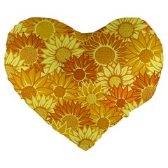 Flower Sunflower Floral Beauty Sexy Large 19  Premium Flano Heart Shape Cushions by Mariart