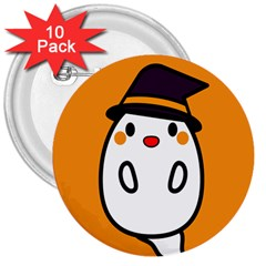 Halloween Ghost Orange 3  Buttons (10 Pack)  by Mariart