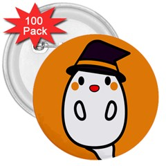 Halloween Ghost Orange 3  Buttons (100 Pack)  by Mariart