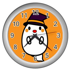 Halloween Ghost Orange Wall Clocks (silver)  by Mariart
