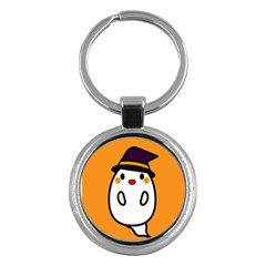 Halloween Ghost Orange Key Chains (round)  by Mariart