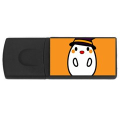 Halloween Ghost Orange Rectangular Usb Flash Drive by Mariart