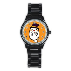 Halloween Ghost Orange Stainless Steel Round Watch by Mariart