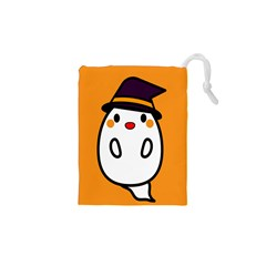 Halloween Ghost Orange Drawstring Pouches (xs)  by Mariart