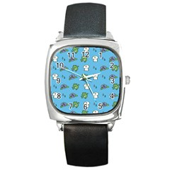 Frog Ghost Rain Flower Green Animals Square Metal Watch by Mariart