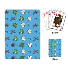 Frog Ghost Rain Flower Green Animals Playing Card by Mariart