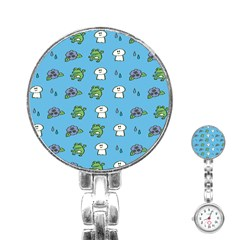 Frog Ghost Rain Flower Green Animals Stainless Steel Nurses Watch by Mariart