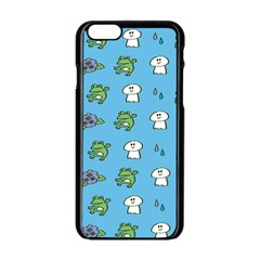 Frog Ghost Rain Flower Green Animals Apple Iphone 6/6s Black Enamel Case by Mariart