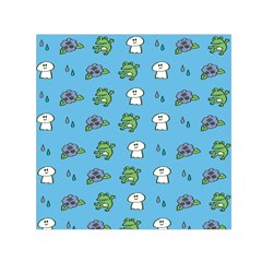 Frog Ghost Rain Flower Green Animals Small Satin Scarf (square) by Mariart