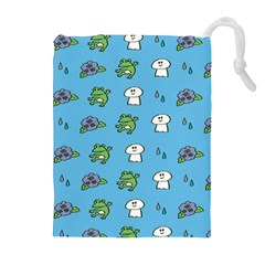 Frog Ghost Rain Flower Green Animals Drawstring Pouches (extra Large) by Mariart