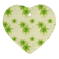 Leaf Green Star Beauty Ornament (heart) by Mariart