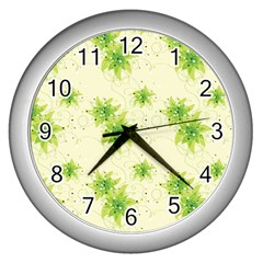 Leaf Green Star Beauty Wall Clocks (silver)  by Mariart