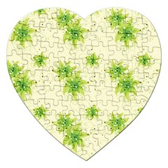 Leaf Green Star Beauty Jigsaw Puzzle (heart) by Mariart