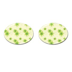 Leaf Green Star Beauty Cufflinks (oval) by Mariart