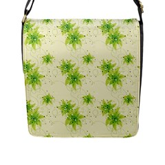 Leaf Green Star Beauty Flap Messenger Bag (l)  by Mariart