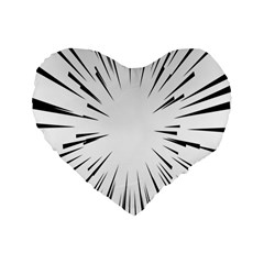 Line Black Sun Arrow Standard 16  Premium Flano Heart Shape Cushions by Mariart