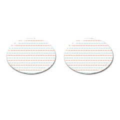 Line Polka Dots Blue Red Sexy Cufflinks (oval) by Mariart