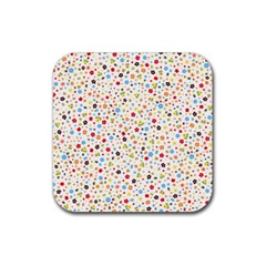 Flower Star Rose Sunflower Rainbow Smal Rubber Square Coaster (4 Pack)  by Mariart