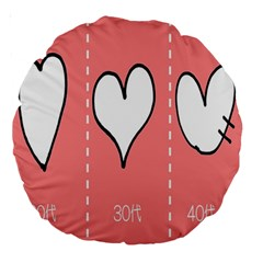 Love Heart Valentine Pink White Sexy Large 18  Premium Round Cushions by Mariart