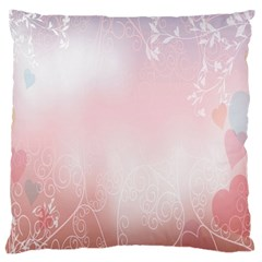 Love Heart Pink Valentine Flower Leaf Large Cushion Case (two Sides) by Mariart