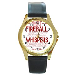 Fireball Whiskey Humor  Round Gold Metal Watch by crcustomgifts