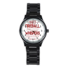 Fireball Whiskey Humor  Stainless Steel Round Watch by crcustomgifts
