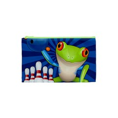 Tree Frog Bowling Cosmetic Bag (xs) by crcustomgifts