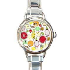 Mango Fruit Pieces Watermelon Dragon Passion Fruit Apple Strawberry Pineapple Melon Round Italian Charm Watch by Mariart