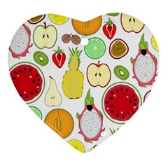 Mango Fruit Pieces Watermelon Dragon Passion Fruit Apple Strawberry Pineapple Melon Ornament (heart) by Mariart
