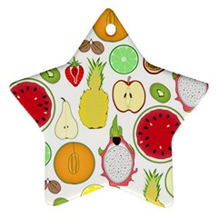 Mango Fruit Pieces Watermelon Dragon Passion Fruit Apple Strawberry Pineapple Melon Ornament (star) by Mariart