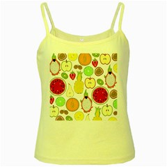 Mango Fruit Pieces Watermelon Dragon Passion Fruit Apple Strawberry Pineapple Melon Yellow Spaghetti Tank by Mariart