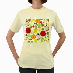 Mango Fruit Pieces Watermelon Dragon Passion Fruit Apple Strawberry Pineapple Melon Women s Yellow T Shirt by Mariart