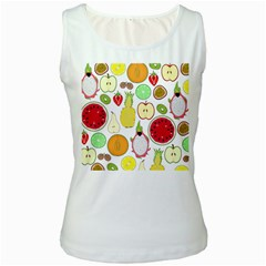 Mango Fruit Pieces Watermelon Dragon Passion Fruit Apple Strawberry Pineapple Melon Women s White Tank Top by Mariart