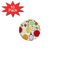 Mango Fruit Pieces Watermelon Dragon Passion Fruit Apple Strawberry Pineapple Melon 1  Mini Buttons (10 Pack)  by Mariart