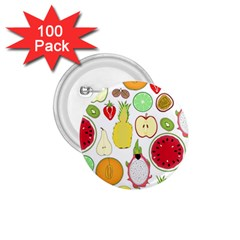 Mango Fruit Pieces Watermelon Dragon Passion Fruit Apple Strawberry Pineapple Melon 1 75  Buttons (100 Pack)  by Mariart