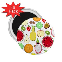 Mango Fruit Pieces Watermelon Dragon Passion Fruit Apple Strawberry Pineapple Melon 2 25  Magnets (10 Pack)  by Mariart