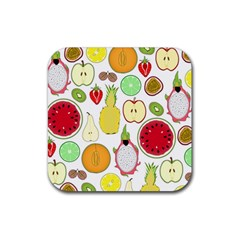 Mango Fruit Pieces Watermelon Dragon Passion Fruit Apple Strawberry Pineapple Melon Rubber Square Coaster (4 Pack)  by Mariart