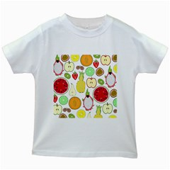 Mango Fruit Pieces Watermelon Dragon Passion Fruit Apple Strawberry Pineapple Melon Kids White T Shirts by Mariart