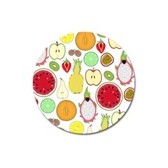 Mango Fruit Pieces Watermelon Dragon Passion Fruit Apple Strawberry Pineapple Melon Magnet 3  (round) by Mariart