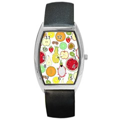 Mango Fruit Pieces Watermelon Dragon Passion Fruit Apple Strawberry Pineapple Melon Barrel Style Metal Watch by Mariart